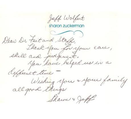 Letter from Sharon and Jeff